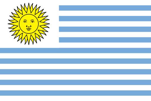 Segunda bandera de Uruguay, utilizada entre 1828 y 1830.